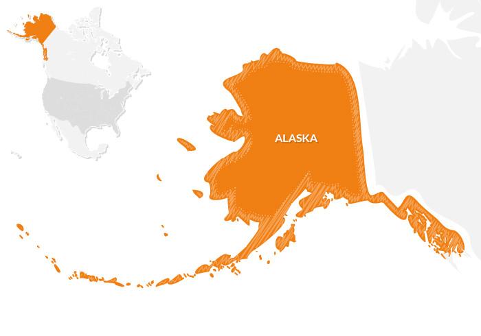 guida turistica Alaska: mappa