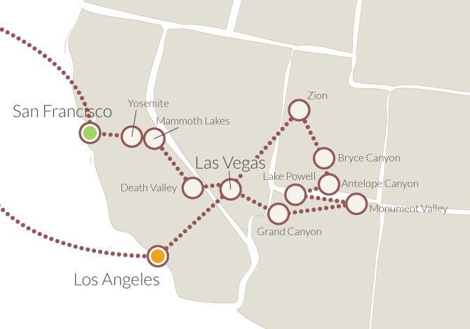 America Occidentale Cartina.Tour Completo Ovest Degli Stati Uniti In Pullman Xplore America