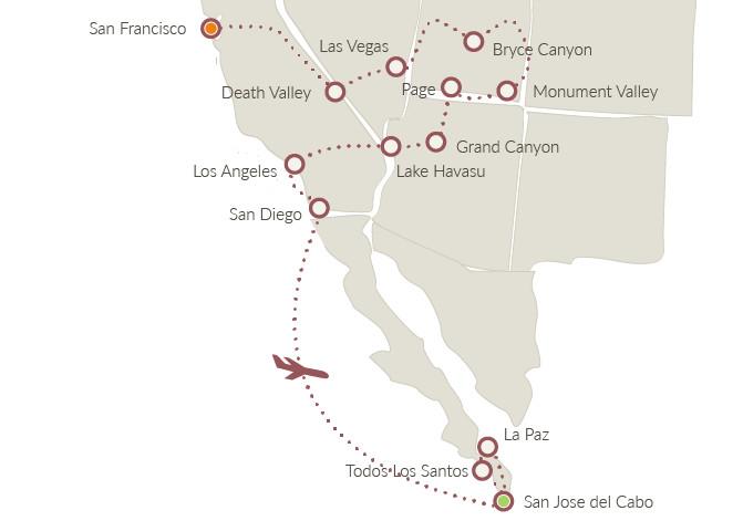 America Occidentale Cartina.Ovest Americano E Bassa California Xplore America